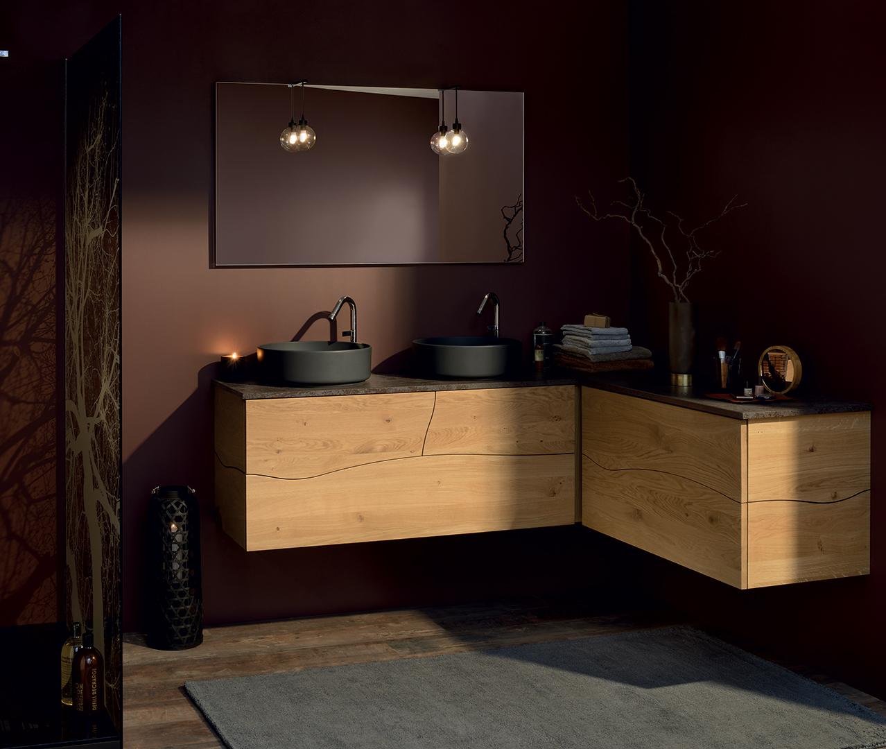 Gamma sherwood houten badkamer badkamermeubel sanijura for Placard d angle salle de bain