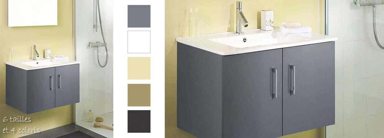ensemble de 70 cm gris anthracite avec vasque en cramique blanche - Meuble Vasque 70 Cm