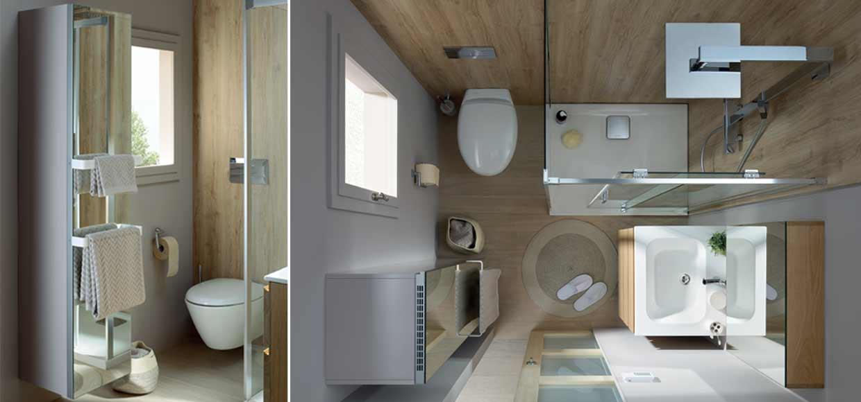 Colonne elemento avec abattant à linge et salle de bain mixCity avec tabouret de rangement wally - Sanijura