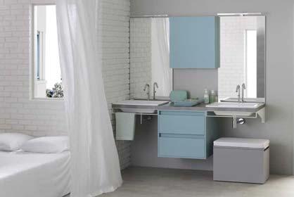 salle bain laque bleu et gris - Sanijura